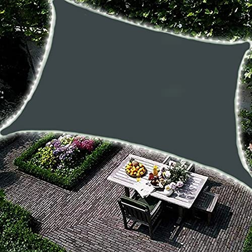 QXTT Toldo Vela Rectángulo Impermeable, Vela Parasol con Luces LED, Toldo para Patio de Material de Tela Oxford con Luces Solares y Accesorios de Montaje para Jardín,3x6m(10x19.5ft)