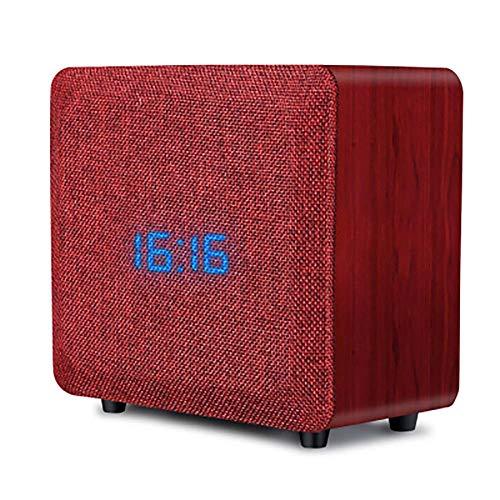 Enceinte Bluetooth en Bois 4.2 10w Home Soundbox avec Radio FM en Tissu Basses AméLioréEs Caisson De Basse Double EntraîNement 10 Heures De Temps De Lecture RéVeil Compatible pour Android Iphone