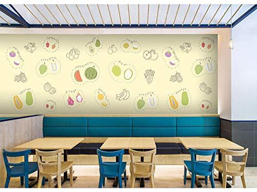 Eufjsdhf fotobehang zomer vers groen fruitsalade sap thee dessert café restaurant 3D foto-200 cm x 140 cm