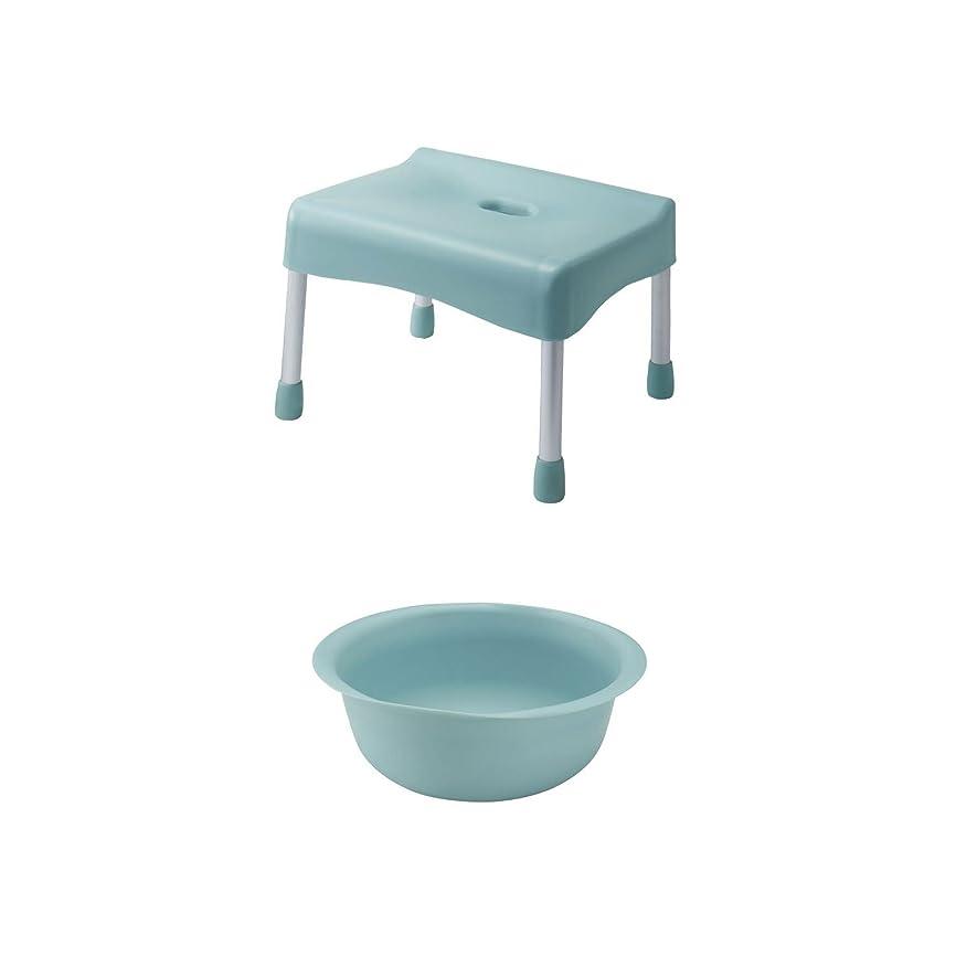 恐怖骨髄治す[ベルメゾン] バスチェア 湯桶 セット 抗菌 座り心地 こだわり ブルー S