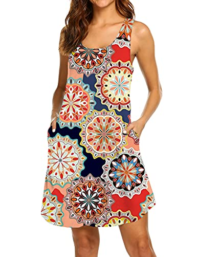 Product Image of the LuckyMore Womens Summer Dresses Casual Beach Damask Print Racerback Tank Dress...