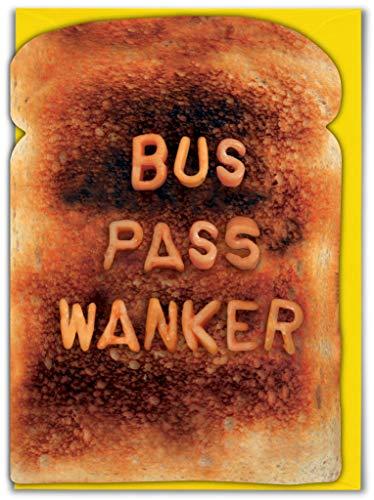 Grappige onbeleefde offensief 'Bus Pass Wanker' verjaardag groeten kaart