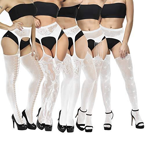 YSense 5 Paar Reizvolle Strapsen Strümpfe mit gürtel Damen strumpfhose ouvert sexy Schwarz Dessous halterlose Netzstrümpfe Netzstrumpfhose MEHRWEG (B-Weiß-5 Pack)