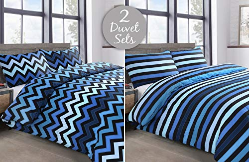 Velosso 2 Pack Hex Stripe Check Geometric Twin Pack Easycare Polycotton Quilt Cover and Pillowcase Bedding Set (Kenzy Blue, Single)