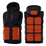 Vin Beauty Chaleco calefactor de la chaqueta, calentador eléctrico de la ropa con USB recargable/con capucha para acampar al aire libre, senderismo, caza, motocicleta