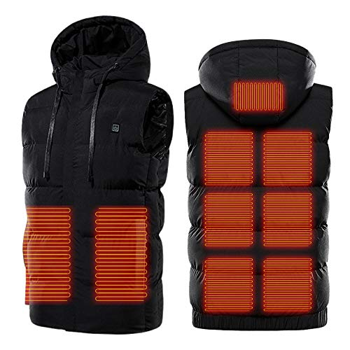 Heated Vest with Hood, USB Charging Electric Heated Jacket 5V,Body Warmer for Women Men Outdoor Motorcycle Riding Camping