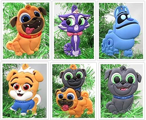 Puppy Dog Pals Christmas Tree Ornament Set Featuring Bingo and Friends - Unique Shatterproof Design