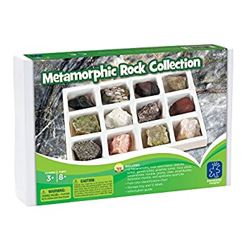 Educational Insights Metamorphic Rock Collection Ages 8 and up Set of 12 Handpicked Specimens in a Storage Tray