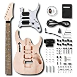 Leo Jaymz DIY Electric Guitar Kits in IBZ Style - Mahogany Body and Maple Neck - Rosewood Fingerboard and All Components Included (7V)