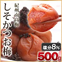 E&F 和歌山県産 紀州南高梅 しそかつお梅 塩分8% 500g