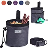 Vivaglory Dog Treat Bag, Hands-Free Puppy Training Pouch with Adjustable Waistband and Built-in Dog Waste Bag Dispenser, 2 Ways to Wear, Grey