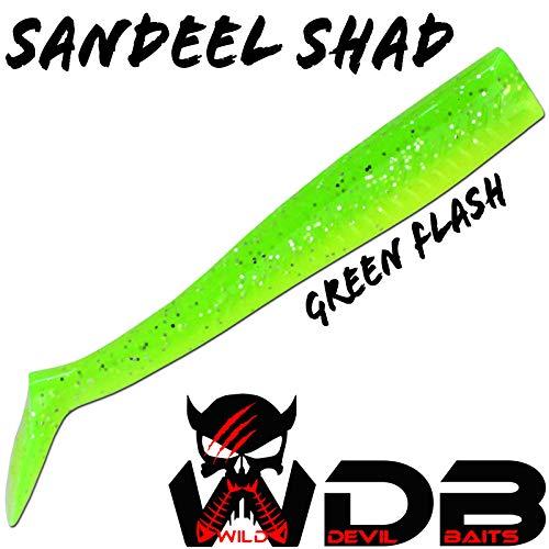Angel-Berger Wild Devil Baits Sand EEL Shad Lemon Ice Sandaal Gummifisch Ersatz Boddy (Green Flash, 13cm)