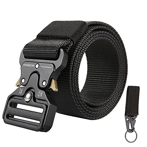 """FEIKCOR Cinturón táctico para hombres Cinturón resistente para correas ajustables Cinturones de nylon de estilo militar 49"""" (Black)"""