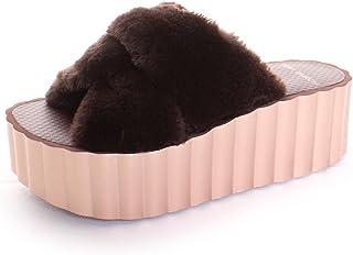 7305e70cf Tory Burch Faux Fur Scallop Wedge Slide in Burnt Chocolate