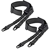 CVLIFE Two Points Sling with Length Adjuster Traditional Sling with Metal Hook for Outdoors Black 2 Pack