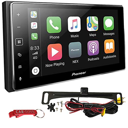 Pioneer MVH-1400NEX Apple CarPlay Car Stereo Bundle with Voxx Backup Camera. 6.2' Double-DIN Bluetooth Multimedia Receiver with Capacitive Touchscreen. SiriusXM, Maestro, Pandora and Spotify Ready