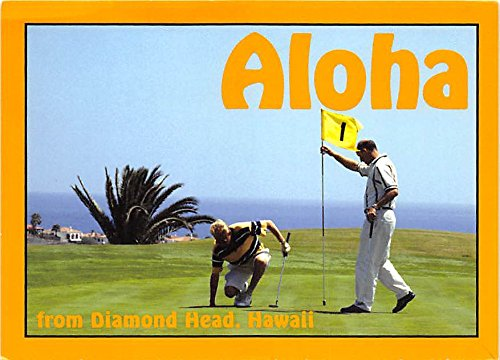 Aloha Diamond Head, Hawaii, HI, USA Old Vintage Golf Postcard Post Card