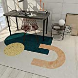Alfombra alfombras Infantiles Alfombra Lavable de diseño Simple Crema Amarillo Azul fácil de Limpiar Alfombra Chimenea Alfombra para Salon 140X200CM