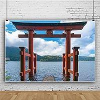 Qinunipoto ビニール 1.5x1m 日本の鳥居とノ湖箱根 象徴的に 背景布 背景幕 ポートレート 写真の背景 写真布 和風 日本のゲートウェイ 神社への入り口 スタジオ ブース小道具 肖像画背景 装飾背景布