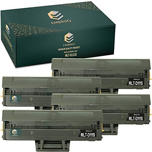 EMBRIIO 4X MLT-D111S D111S Cartucho Tóner Reemplazo para Samsung Xpress SL-M2020 M2020W SL-M2026 M2026W SL-M2070 M2070W M2070FW M2070F SL-M2021 M2021W SL-M2022 M2022W SL-M2071 SL-M2078