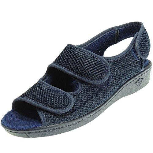 ALBEROLA 66750 Zapatilla Rejilla Mujer Nailon Dos Velcros en Empeine y Punta Abierta. Verano. Plantilla Toalla Anatómica Azul Talla 38