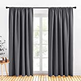 PONY DANCE Window Blackout Curtains - Light Blocking Home Decor Rod Pocket Wide Curtain Panels & Drapes for Living Room, 70 x 84 Inches, Gray, 2 Pieces