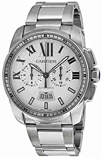 Cartier Calibre Mens Automatic Chronograph Watch with Stainless Steel Bracelet - W7100045