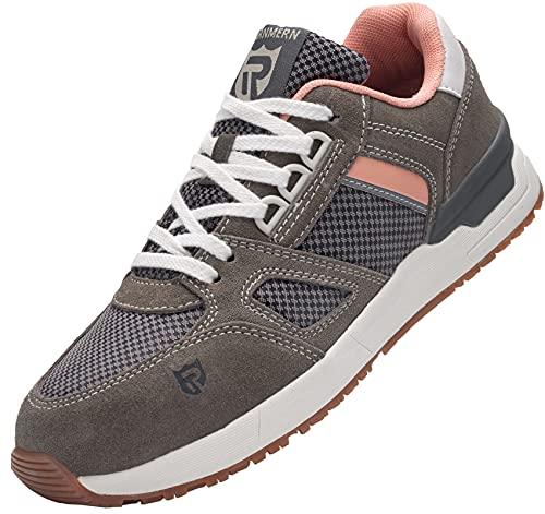 Zapatos de Seguridad Mujer,L9123 SB SRC Zapatillas de Trabajo con Punta de Acero Suave y cómodo Antideslizante 38 EU,Gris