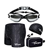 Fansino Men's Square Leg Swimsuit, Swim Goggles, Swimming Cap with Swimsuit Nose Clip