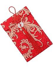 TOYANDONA Chińskie Boże Narodzenie czerwona koperta szczęśliwy Hongbao karta podarunkowa koperty brokat biżuteria na pieniądze prezent feniks woreczek na wiosenny festiwal wakacje 19 x 12 cm
