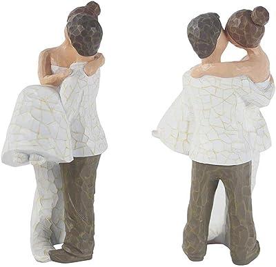 Dreamseden Newlyweds Embrace & Kiss Sculpture - Romantic Couple Statue Ornament Figurine Home Office Table Decoration for Valentine Engagement Wedding Anniversary
