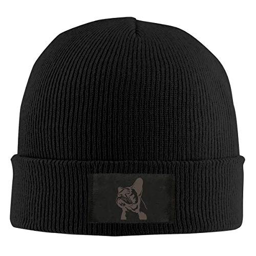 Field Rain French Bulldog Fashion Men 's Warm Winter Hats Thick Knit Cuff Beanie Cap Black