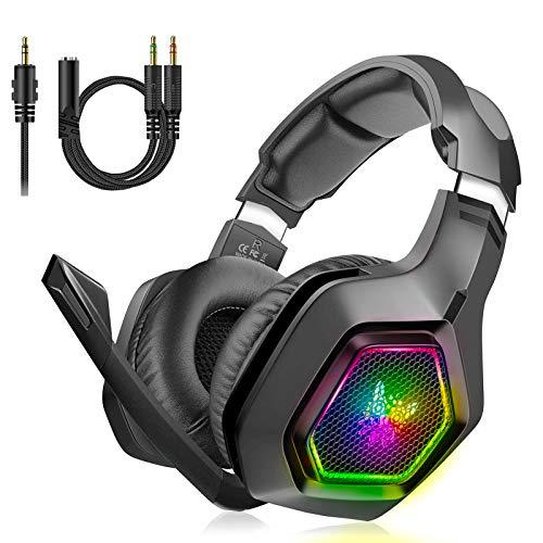 Unisun PS4 Headset PC Gaming Headphone with Microphone 3.5mm Jack Spliter...
