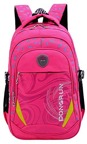 Geek-M Kinder Junge und Mädchen Schulrucksack Schultasche Nylon Schulranzen Sportrucksack Backpack (Rose)