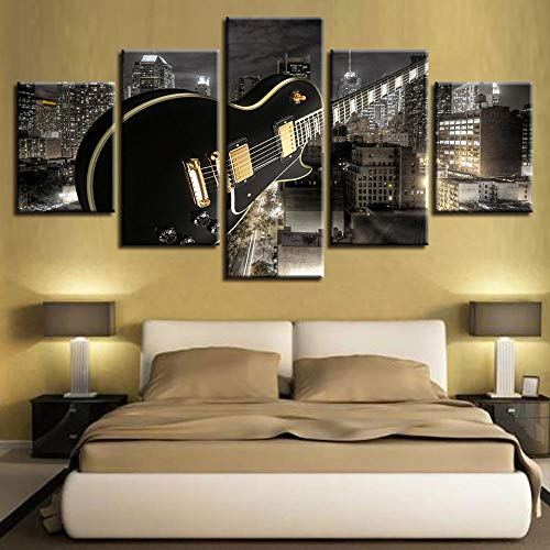 QianLei wooncultuur canvas woonkamer HD gedrukt modern 5 panelen gitaar bouw muziek 20x35 20x45 20x55cm geen lijst