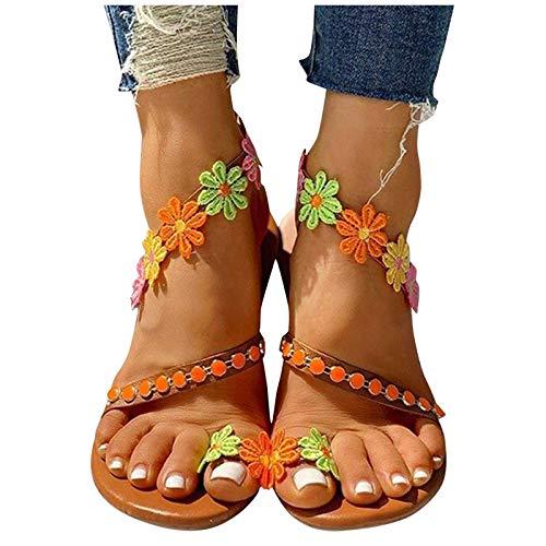 Women's Elastic Ankle Strap Low Wedges Sandals Orange