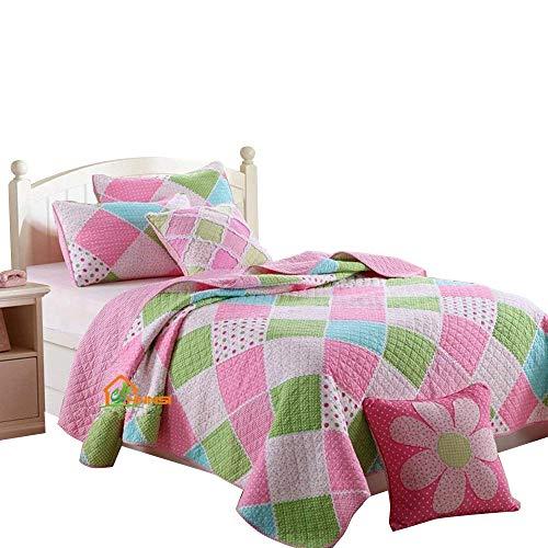 HNNSI Cotton Kids Girls Quilt Comforter Set Twin Size, Children Teens Girls Bedspread Bedding Sets(Pink Blue Green White Patchwork)