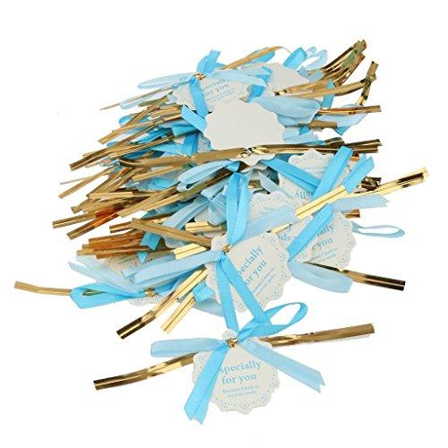 Generic 50pcs Metallischen Bindebänder Blauen Band Bogen Label-Tags Für Süßigkeiten Lutscher Taschen