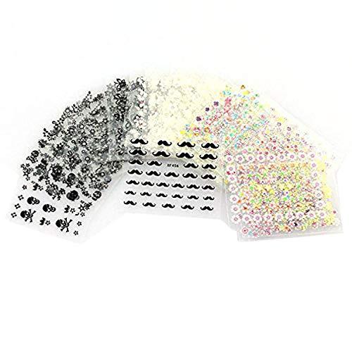 Pixnor 50 feuilles de couleurs mélangées 3D conçoivent pointe autocollant Nail Art Stickers Autocollants à ongles conseils décorations (couleur aléatoire Pattern)