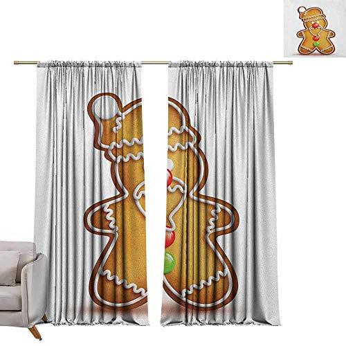 Tr.G verduisterende gordijnen staaf Pocket gordijn panelen voor slaapkamer & keuken Gingerbread Man,Whimsical Cartoon Santa Gingerbread Man met Bonbon snoepjes lichtbruin Rood Groen