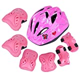 RuiyiF 7PCS Kids Protective Gear Set for Skateboarding with Adjustable Helmet Elbow Wrist and Knee Pads, Skating Cycling Bike Safety Gear Set for Kids 3-12 Years Old (Pink Butterfly)