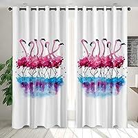 """装飾遮光カーテン水彩フラミンゴパターンプリント100%ポリエステル生地の家の寝室のリビングルームのバスルームの装飾的なカーテン,03,W52""""*L72"""""""