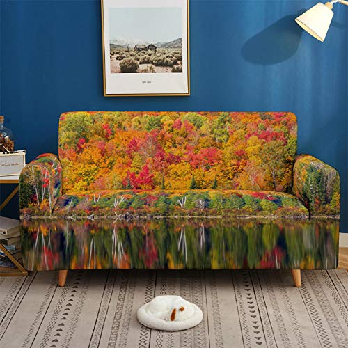 Stretch Covers For Sofa Couch Elastic Spandex Lake Scenery Printed 1/2/3/4 Seater Sofa Cover Armchair Slipcovers Furniture Protector for Children Pet,4,seater 235,300cm