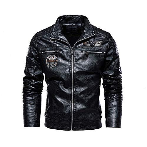 2021 chaqueta de los hombres de la calle cortavientos abrigo hombres ropa de cuero gruesa chaqueta polar hombres chaqueta casual pu negro-XXXL