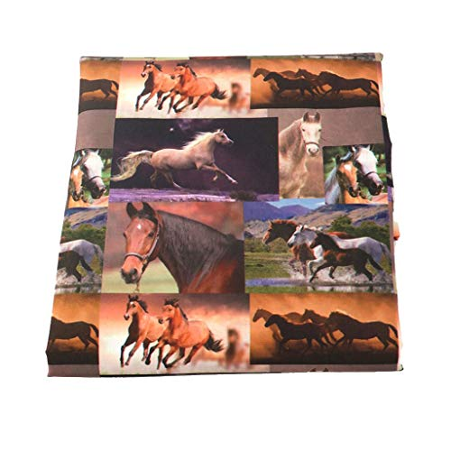WGD BU 1 Unids 145 Cm Patrón De Caballo Tela, Tela De Algodón De Poliéster Lobo Lobo Impreso Material De Costura Acolchado Paño para El Hogar Ropa De Bricolaje