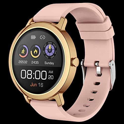 Smart Watch Bluetooth Llamada Reloj Música Reproducir Música Smart Watch Ladies Menstrual Ciclo Monitor Monitor Fitness Ejercicio Tracker, Smart Watch, Monsteramy (Color : Pink)