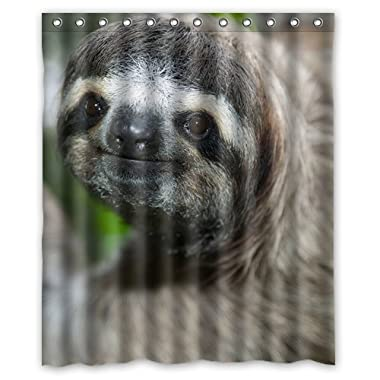 Unique Debora Customize Home Decorator Polyester Waterproof Bath Curtain Shower Curtain 60x72 Inch for Cute Animal Sloth Face Pattern