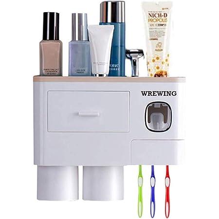 WREWING Soporte de cepillo para polvo de dientes para pared, multifuncional soporte de cepillo para polvo de dientes eléctrico para baño con cubierta automática dispensador de pasta dental ahorro de espacio para baño organizador con cajón
