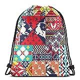 n/d inverno stile nordico maglia tessuto jacquard donne ragazza arte coulisse zaino borsa beam bocca palestra sack borse a spalla per uomini e donne