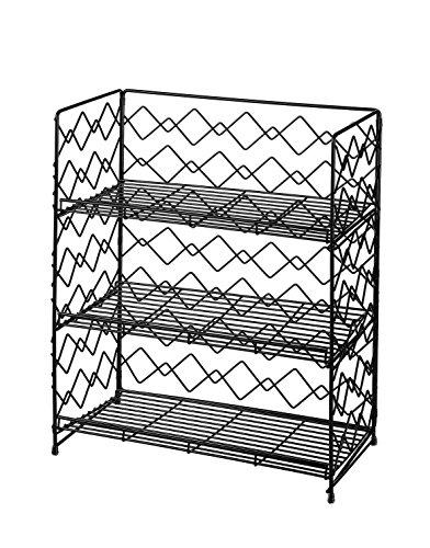 NEUN WELTEN Gewürzregal Breites Küche Hängeregal oder Standregal 34 x 19 x 42cm(Schwarz, 3 Etagen)
